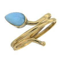 A larimar coiled snake ring.Ring size K.