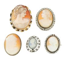A selection of cameo jewellery, to include three bracelets, a ring, a pendant and eight brooches.