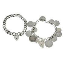 Two silver bracelets,