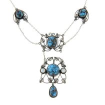 An Arts & Crafts turquoise and mother-of pearl necklace,