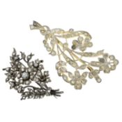 Two Victorian paste floral brooches, together with a later pair of paste earrings.