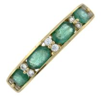 A 9ct gold emerald and colourless gem half eternity ring.