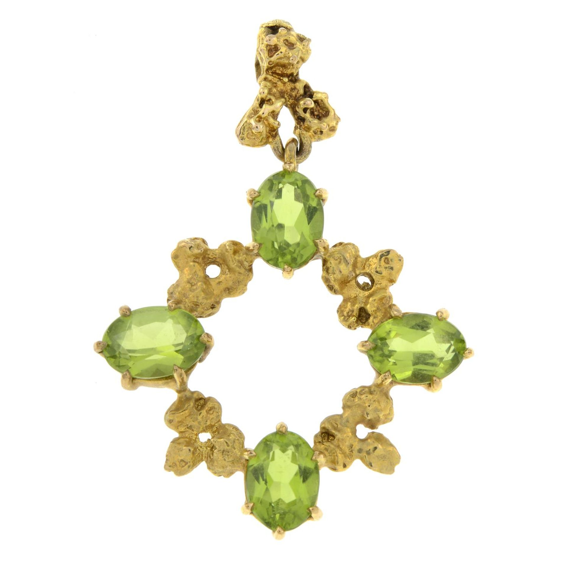 A 1970s 9ct gold peridot pendant, by Cropp & Farr.Hallmarks for London, 1976.