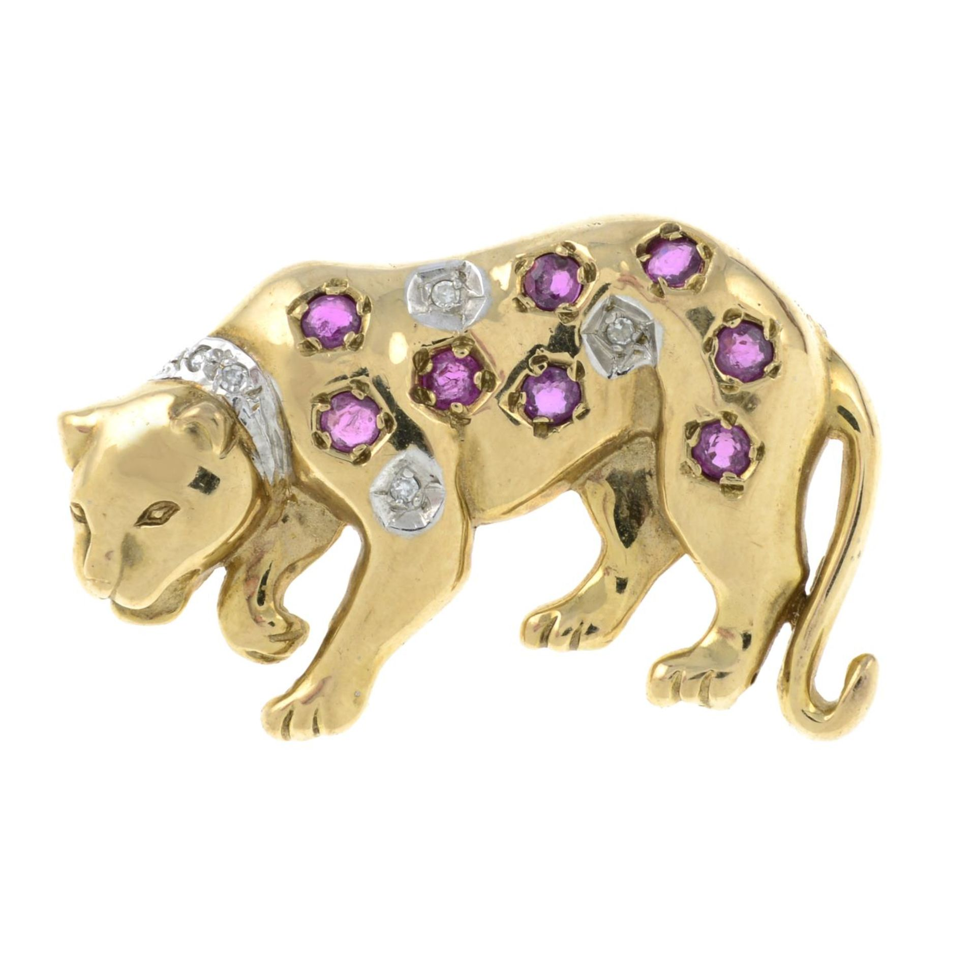 A 9ct gold ruby and diamond leopard brooch.Hallmarks for 9ct gold.