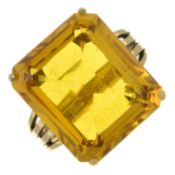 A 9ct gold synthetic sapphire single-stone cocktail ring.Hallmarks for Birmingham.