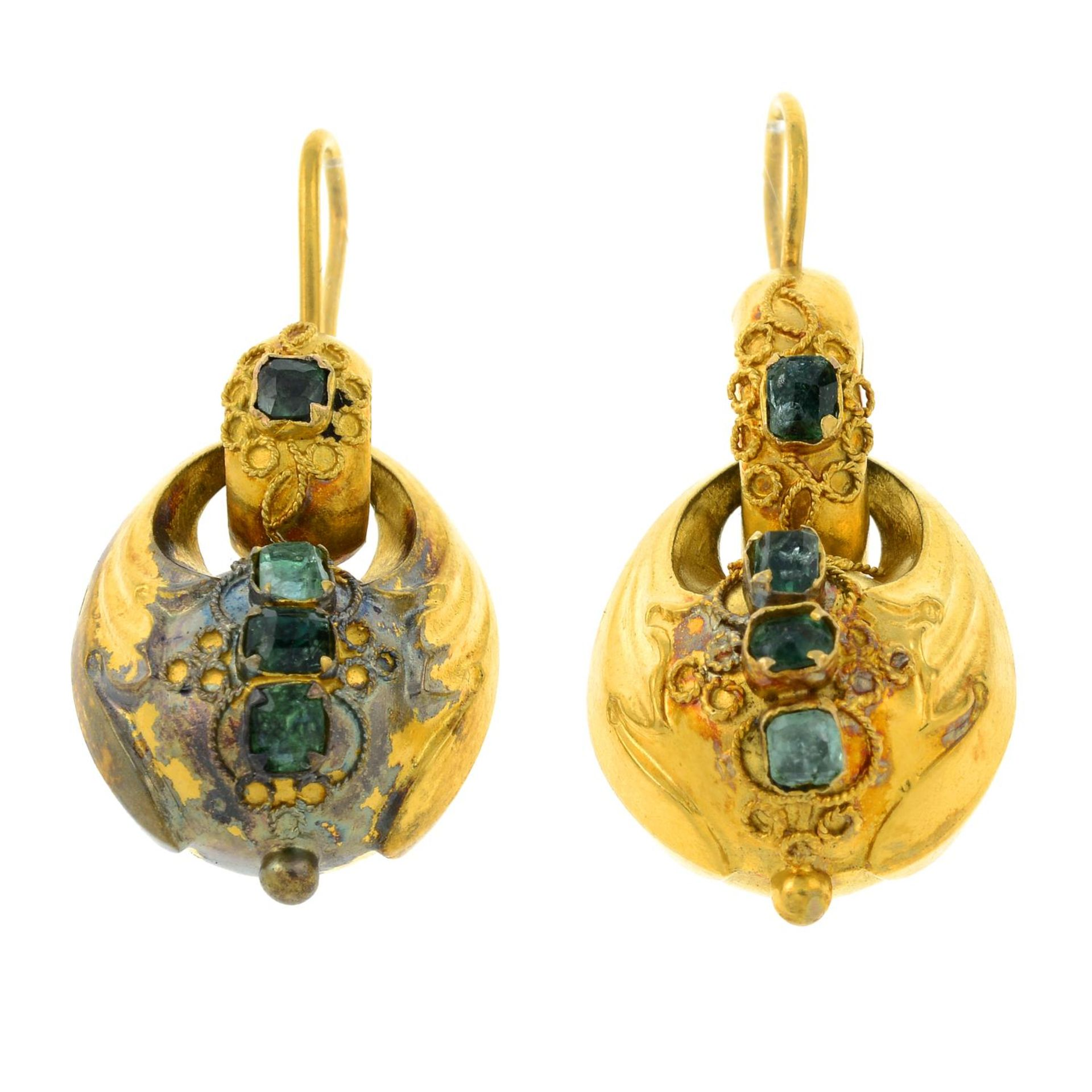 A pair of mid 19th century gold emerald drop earrings.Length 3.5cms.