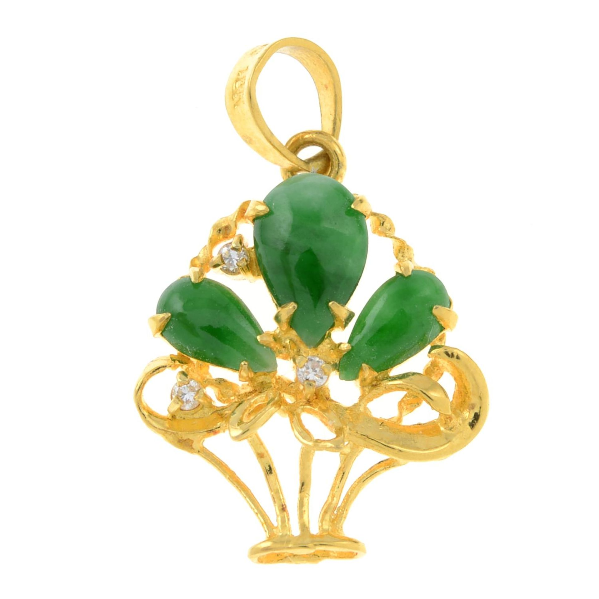 A jade pendant, designed to depict an openwork flower basket, with diamond accent.Stamped 750 18K.