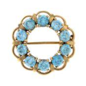 A 1970s 9ct gold blue zircon brooch, by Cropp & Farr.