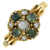 An early Victorian 15ct gold emerald and seed pearl cluster ring.Band replacement with hallmarks