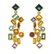 A pair of gem-set drop earrings.Stamped 750.Length 3.7cms.