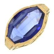 A synthetic sapphire dress ring, with embossed gallery.Ring size P.