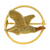 A 1940s 9ct gold and enamel brooch,