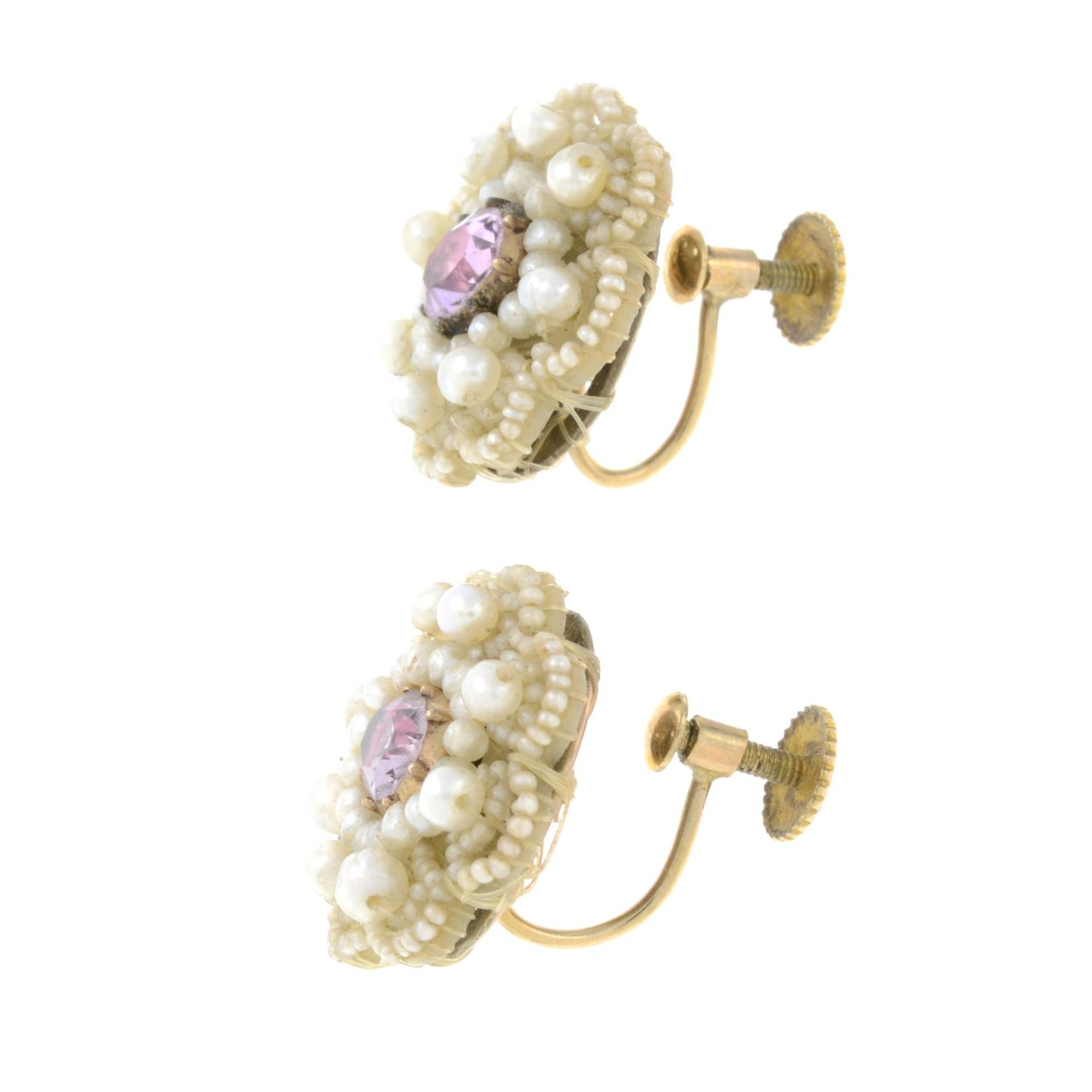 A pair of Georgian seed pearl, - Bild 2 aus 2