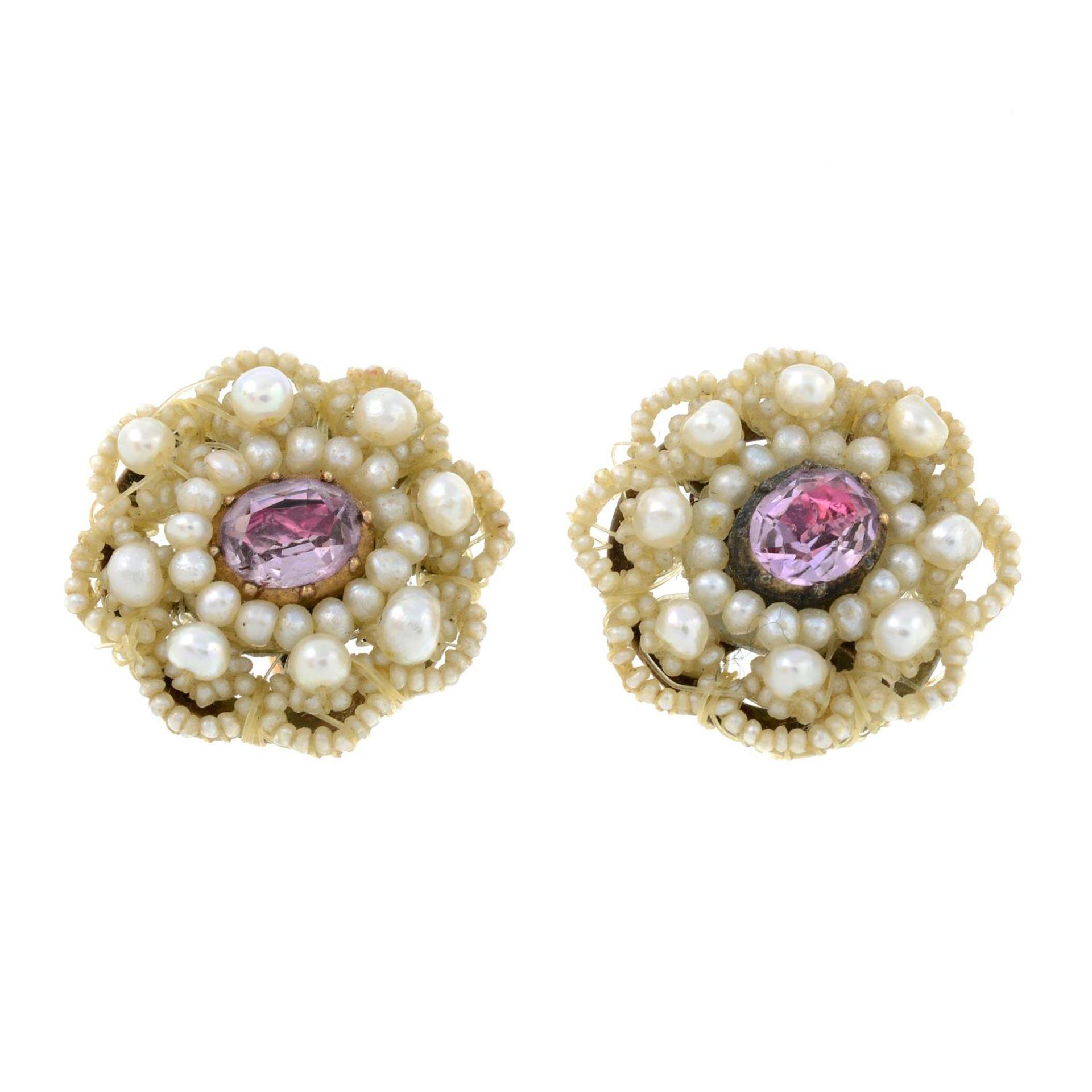 A pair of Georgian seed pearl,