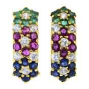 A pair of ruby, sapphire, emerald and colourless gem cluster earrings.Stamped 585.