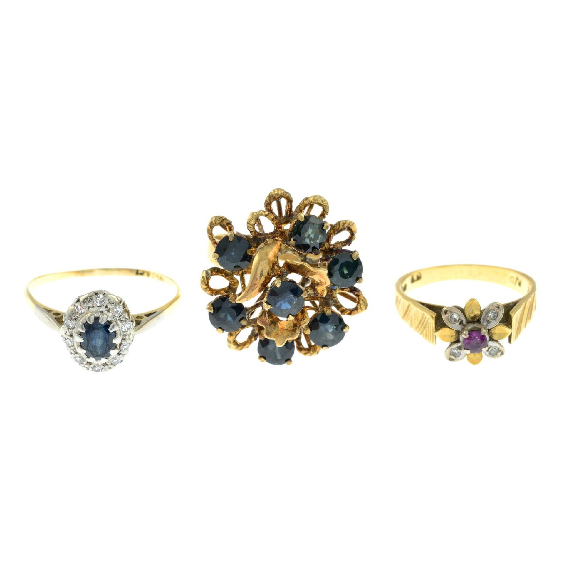 18ct gold diamond and ruby floral cluster ring,