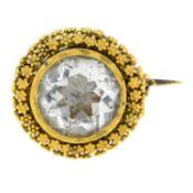A Georgian gold rock crystal brooch.Length 1.7cms.
