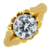 A colourless gem single-stone ring.Ring size M.