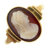 A late 19th century 9ct gold shell cameo ring,