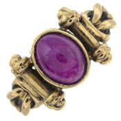 A 9ct gold ruby single-stone ring.Hallmarks for Birmingham.Ring size L.