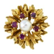 A 1960's 9ct gold cultured pearl and ruby abstract flower dress ring.Hallmarks for London, 1969.