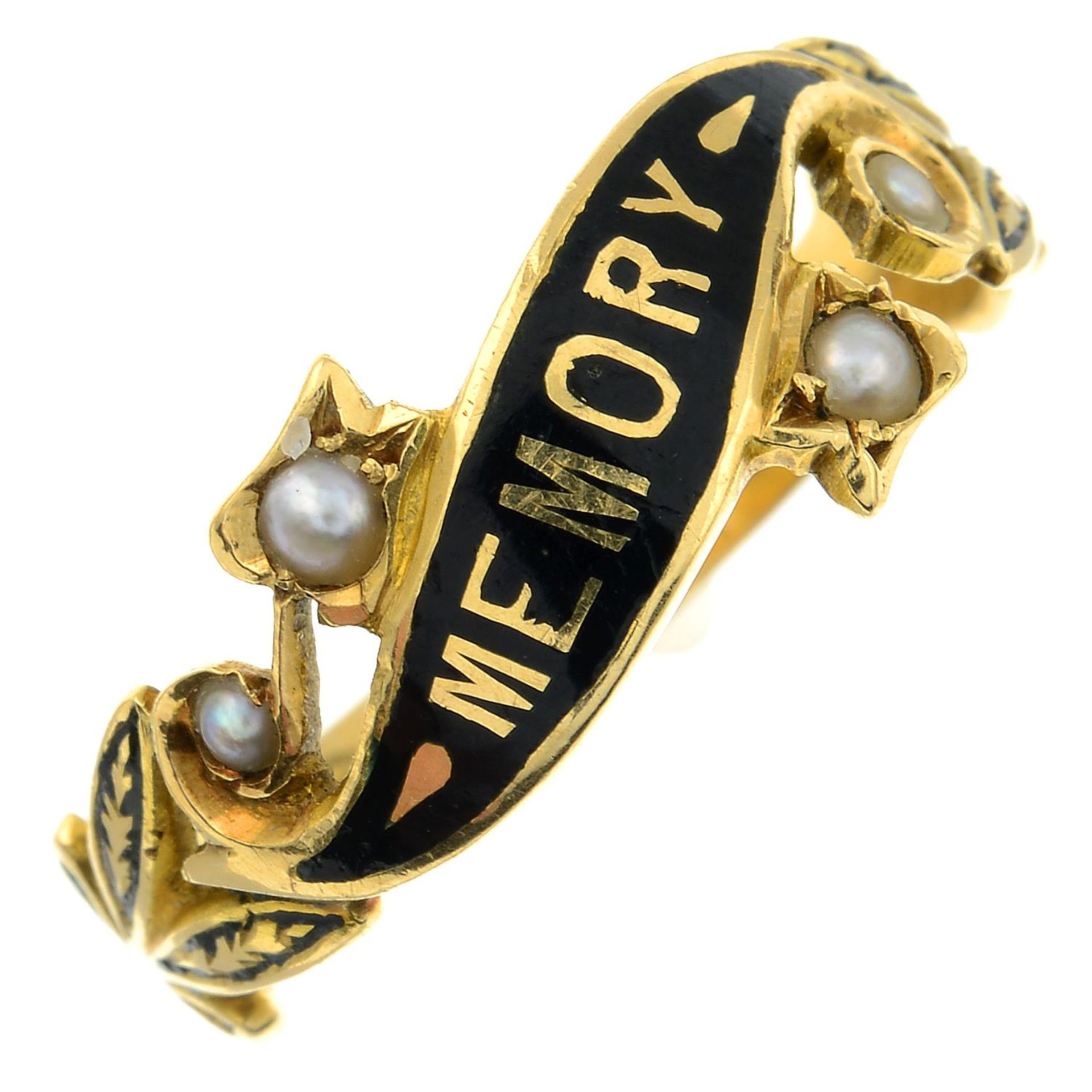 A late Victorian 18ct gold split pearl and enamel memorial ring.Hallmarks for Chester,