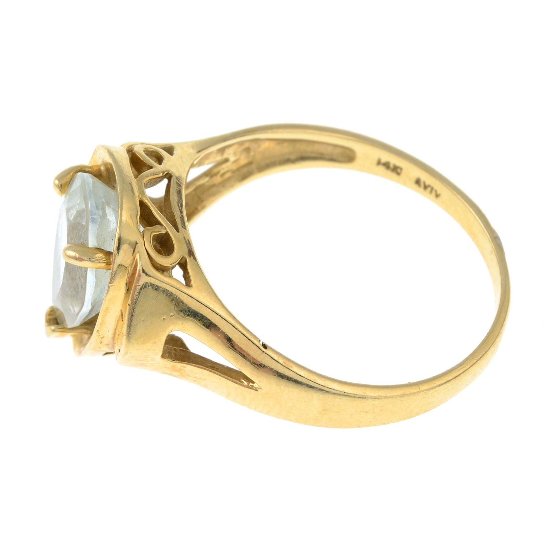 An aquamarine single-stone ring.Aquamarine calculated weight 1.70cts, - Bild 2 aus 3