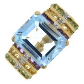 A topaz, amethyst, citrine, peridot and diamond dress ring.Stamped 10K.Ring size N1/2.
