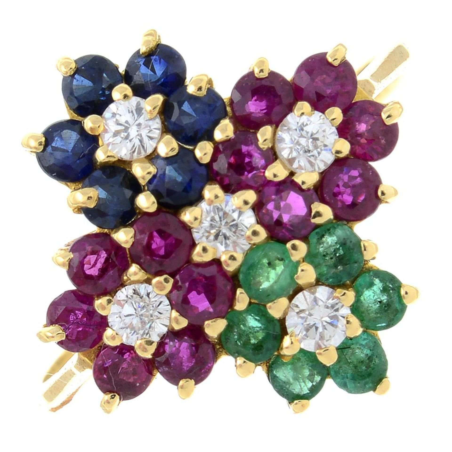 A ruby, emerald, sapphire and colourless gem cluster dress ring.Ring size M.
