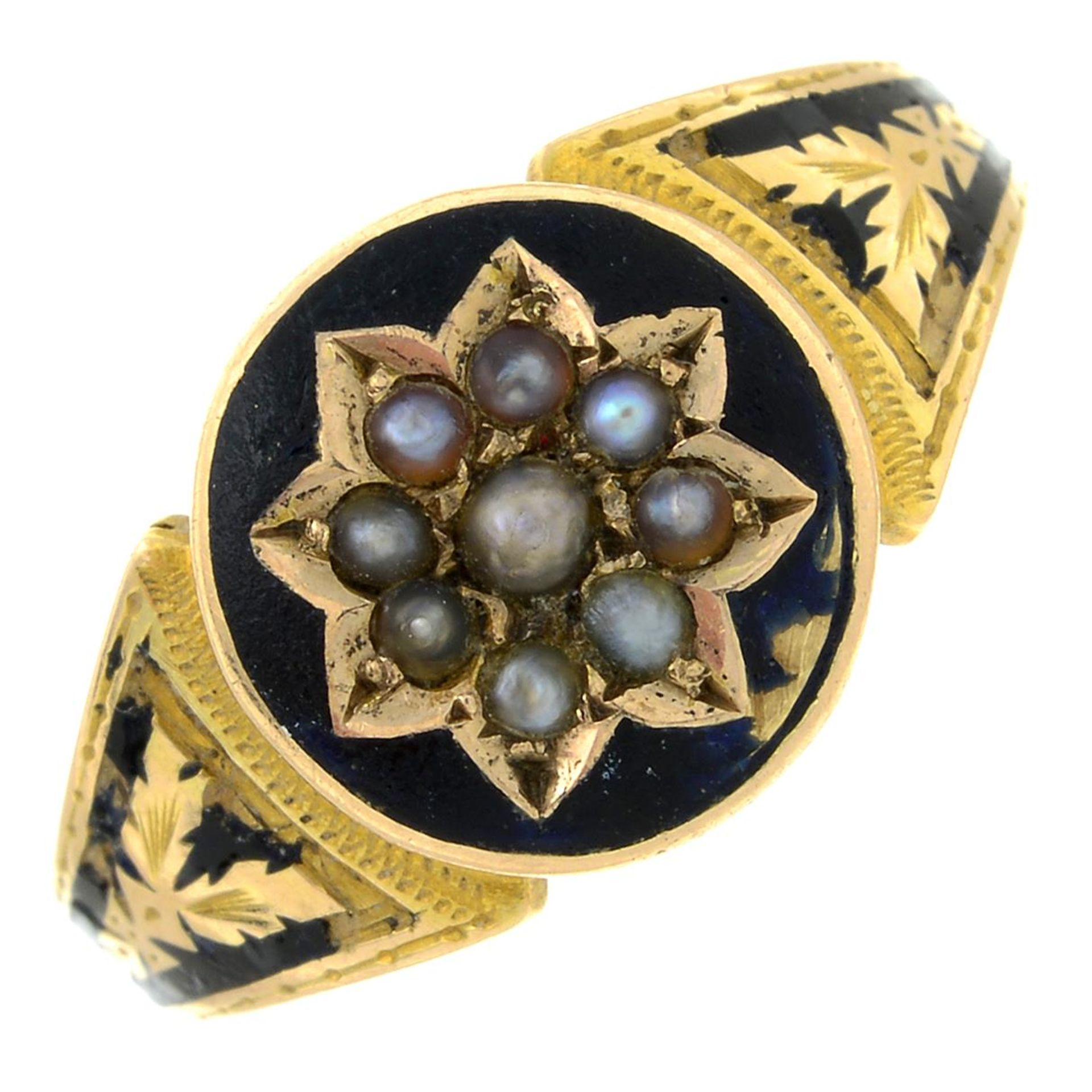 A late Victorian gold split pearl and black enamel mourning ring.Ring size L.