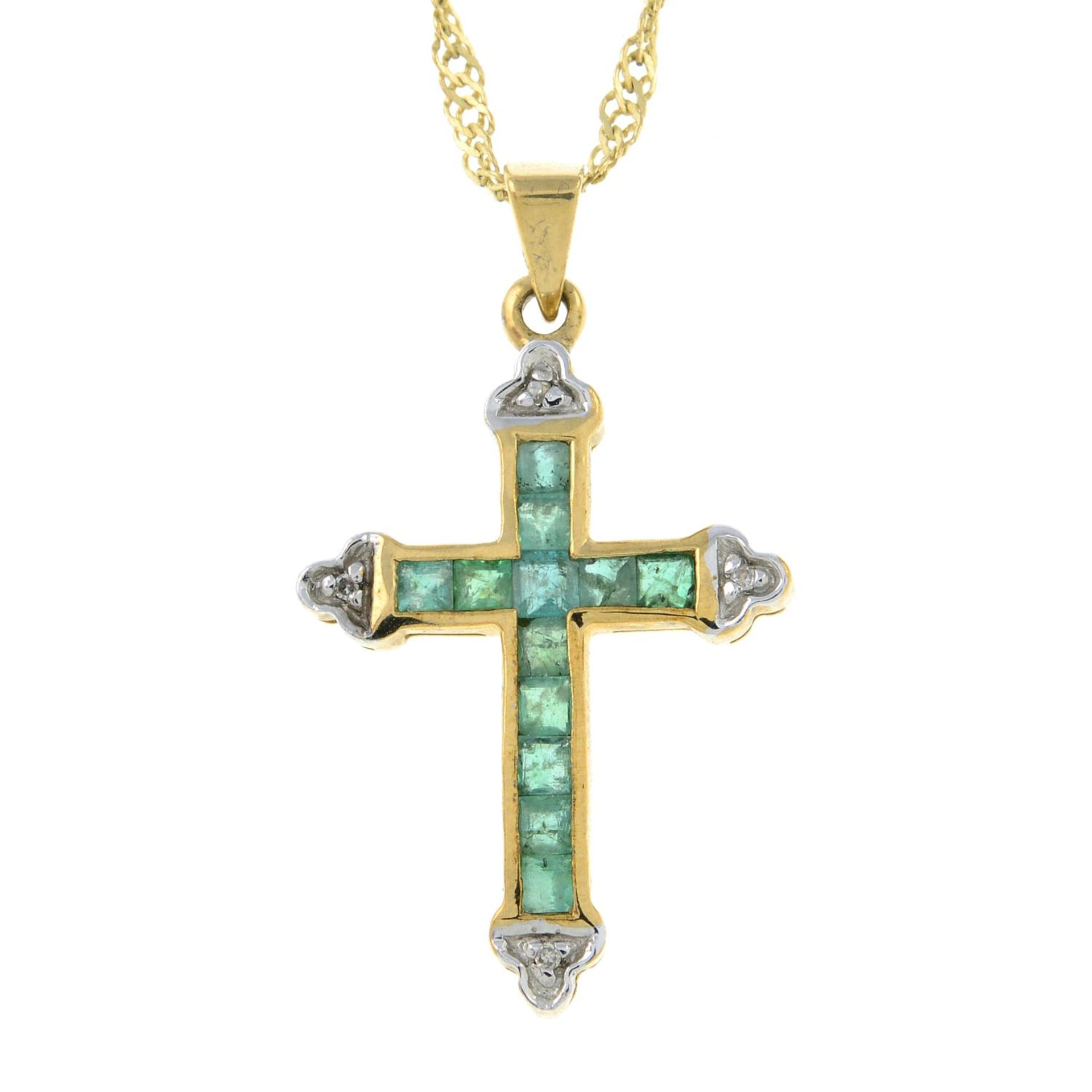 A 9ct gold emerald and diamond cross pendant, with 9ct gold chain.Hallmarks for 9ct gold.