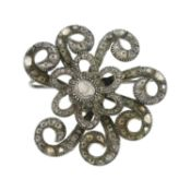 A Georgian silver rose-cut diamond brooch.Length 4.2cms.