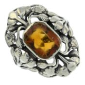 An Arts and Crafts silver citrine ring, attributed to Bernard Instone.Stamped silver.Ring size K.