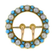 An early 20th century gold turquoise and split pearl buckle brooch.Length 2cms.