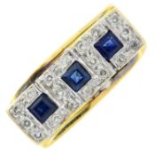 A sapphire and diamond ring.Estimated total diamond weight 0.30ct.