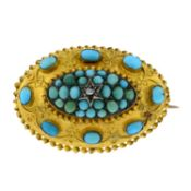 A late 19th century 15ct gold turquoise and diamond brooch, with cannetille detail.Stamped 15CT.