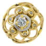 A brilliant and rose-cut diamond dress ring.Principal diamond estimated weight 0.30ct,