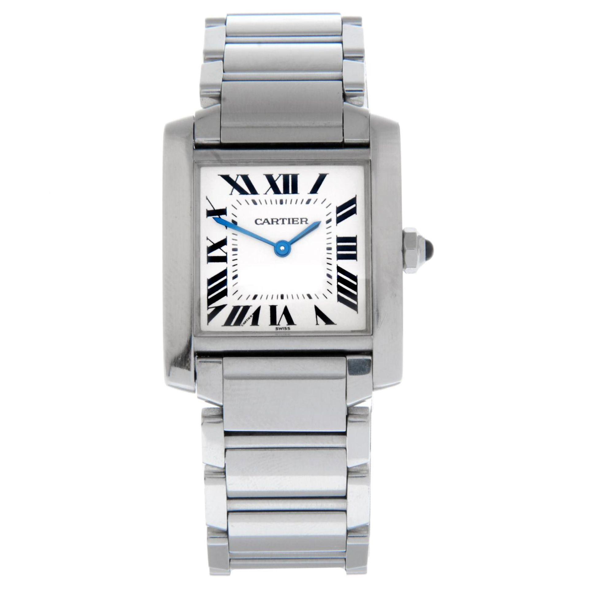 CARTIER - a Tank Francaise bracelet watch.