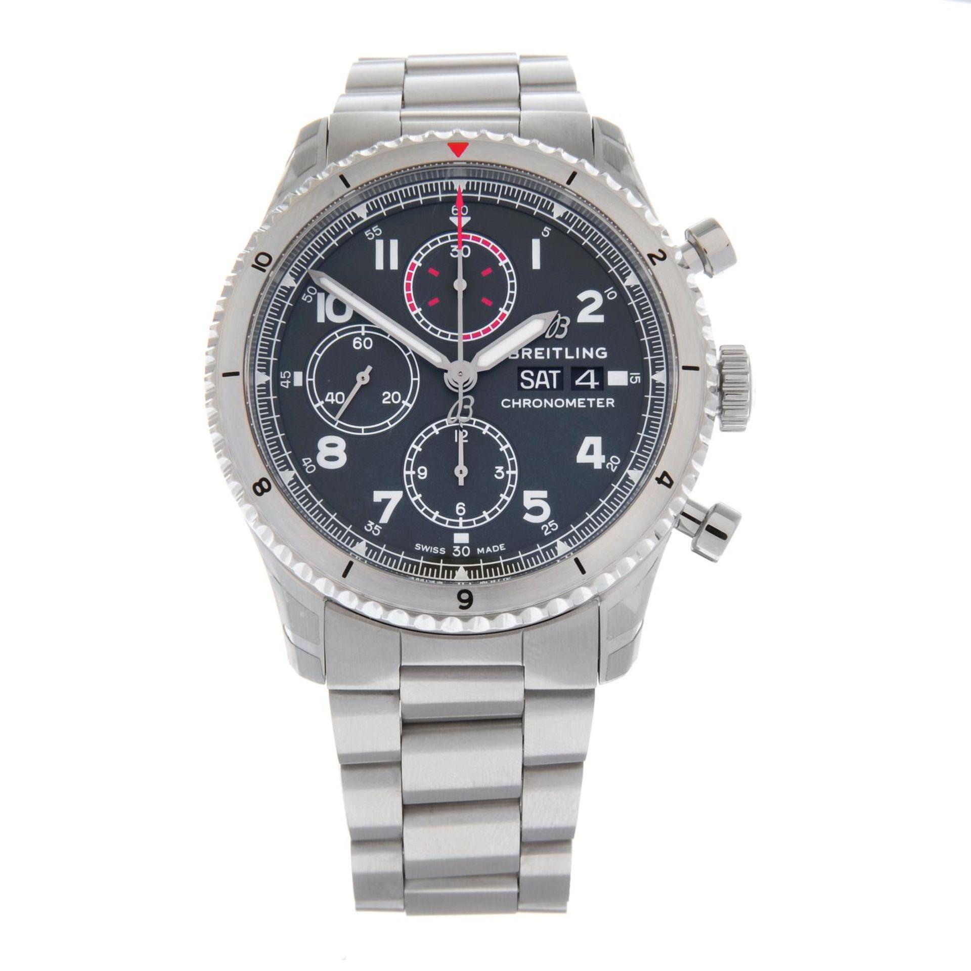 CURRENT MODEL: BREITLING - an Aviator 8 chronograph bracelet watch.