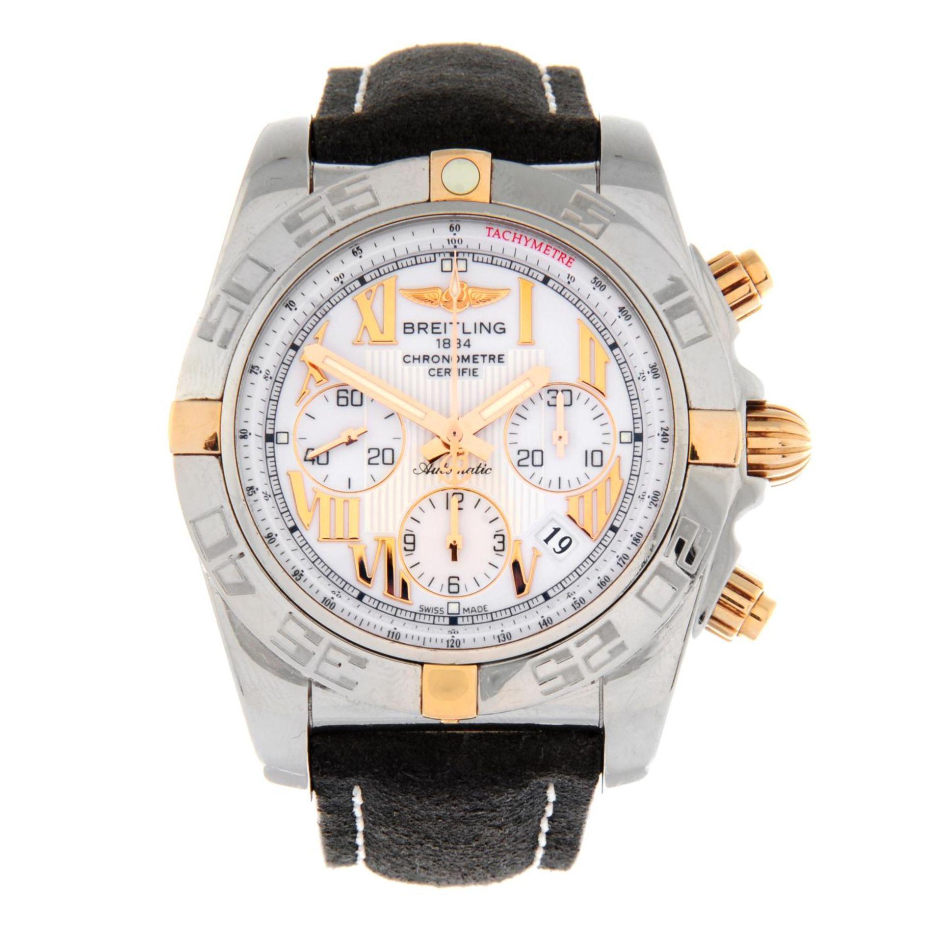 BREITLING - a Chronomat 44 chronograph wrist watch.