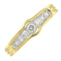 An 18ct gold diamond seven-stone ring.