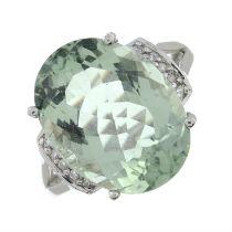 A 9ct gold prasiolite and single-cut diamond ring.