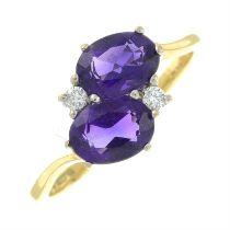An 18ct gold amethyst and brilliant-cut diamond dress ring.
