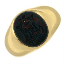 A late Victorian bloodstone seal signet ring.