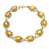 A citrine bracelet.