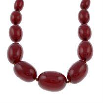 A graduated bakelite bead necklace.