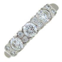 A platinum diamond band ring.