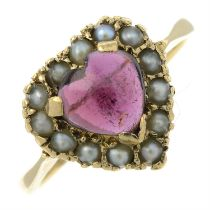A garnet and split pearl heart ring.