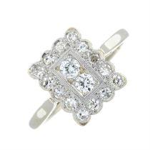 An art deco brilliant-cut diamond cluster ring.