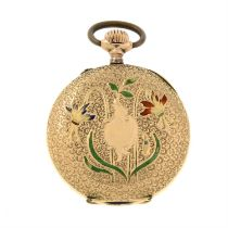 A 14ct gold Lady's pocket watch, with floral enamel reverse.